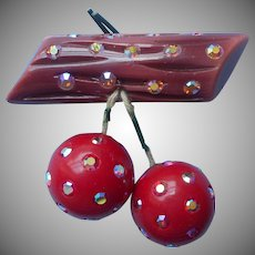 Plastic Cherries On Log Branch Vintage Pin AB Rhinestones