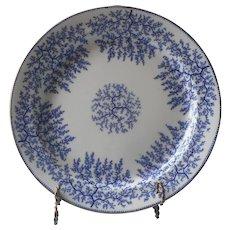 Minton Fibre Blue Platter Tureen Under Plate Antique Porcelain Seaweed