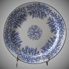 Minton Fibre Blue Platter Tureen Under Plate Antique Porcelain Seaweed