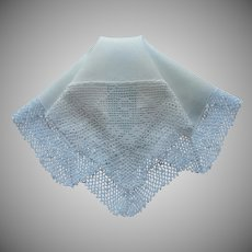 Monogram S Antique Hankie Linen Crocheted Lace Handkerchief