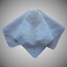 Madeira Hankie Vintage 1960s Yellow Appliqued Rose Handkerchief
