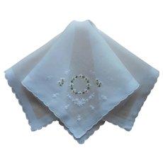 Vintage Hankie Daisies Hand Embroidery Unused Handkerchief