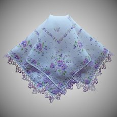 Vintage Hankie Pansies Print Tatted Purple Lace Handkerchief