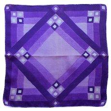 1920s Silk Hankie Vintage Handkerchief Pocket Square Purple