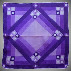 1920s Silk Hankie Vintage Handkerchief Pocket Square Purple