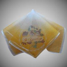 1920s Silk Novelty Hankie Wednesday Pansies Vintage Handkerchief