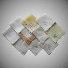 1910s and 1920s Little Hankies Yellow Hand Embroidery Vintage to Antique