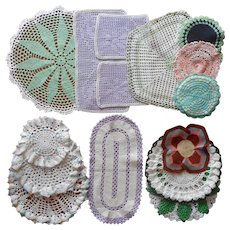 Crocheted Colorful Doilies Pot Holders Vintage 1920s to 1940s