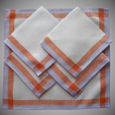1920s Breakfast Napkins Vintage 5 Purple Henna Striped Borders