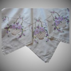 1920s Tea Tablecloth Hand Embroidered Purple Flower Baskets Vintage