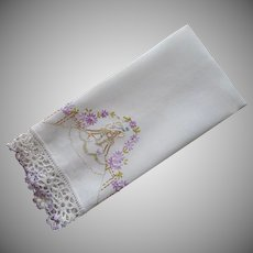 Southern Belle Towel Vintage Hand Embroidery Purple Crocheted Lace