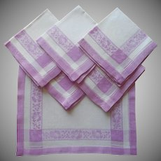 1920s Breakfast Napkins Vintage 6 Orchid Purple White Damask