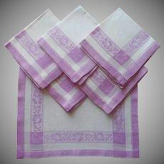 1920s Breakfast Napkins Vintage 6 Orchid Purple White Damask