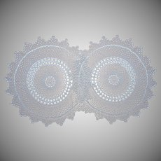 Pair Round Tablecloth Table Toppers Vintage Crocheted Lace