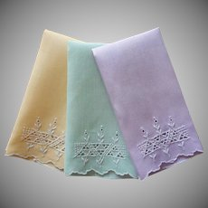1920s Fingertip Towels Guest Vintage Set 3 Cutwork Hand Embroidery