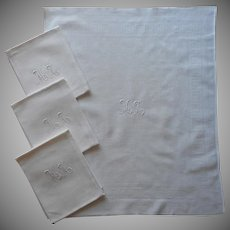 Monogram M.A. Antique 4 French Napkins Large Informal Damask