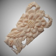 1930s Dress Clip Carved Bone Pierced Chrysanthemum Flower Leaves