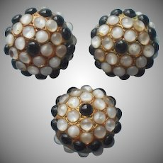 Vintage Buttons Jeweled Glass Cabochons Black White