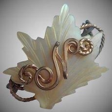 Monogram N Antique Little Pin Mother Of Pearl Carved Leaf