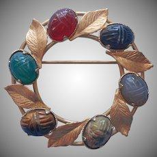 Scarab Pin Gold Filled Circle Vintage Leaves Natural Stones