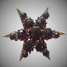 Antique Faux Garnet Pin Glass Garnets Six Point Star