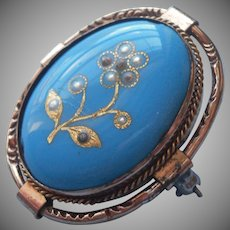 Victorian Enamel Pin Turquoise Blue Antique