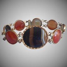 Banded Agate Carnelian Bracelet Vintage Scottish
