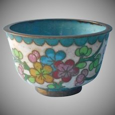 Tiny Cloisonne Cup Vintage Chinese Enamel Ideal For Rings