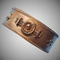 Etruscan Revival Antique Victorian Hinged Bracelet TLC