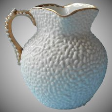 Antique Milk Pitcher Gold White China Coralene Pebble Droplet Finish