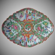 Rose Medallion Antique Chinese Footed Dish