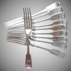 Monogram E Antique Silver Plated Forks Classic Tipped Pattern Set 10
