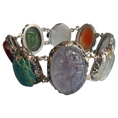 Chinese Export Scarab Stones Beetles Bracelet Vintage Dragon Clasp