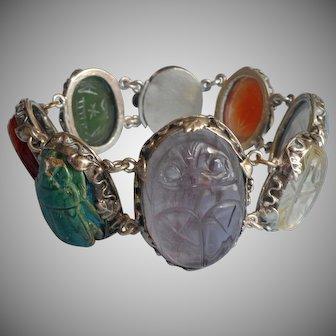 Chinese Export Scarab Stones Beetles Bracelet Vintage Dragon Clasp