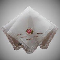 Vintage Hankie Rose Hand Embroidery Lace Celebritees Label