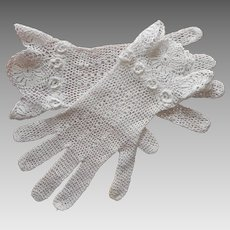 Irish Crochet Lace Gloves Vintage Crocheted Small