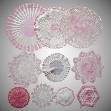 Pink White Vintage Crocheted Doilies Pot Holders