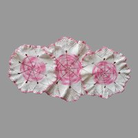 Pink White Crocheted Lace Console Doily Set 3 Vintage