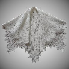 Square Crocheted Small Tablecloth Topper Vintage Heavy