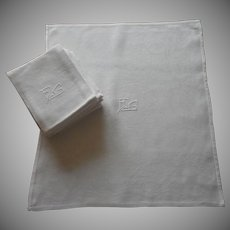 Monogram F. G. Set French Napkins Vintage