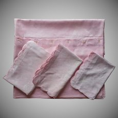 Duvet Pillow Shams Set Vintage European Pink Damask Weave Cotton