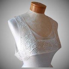 Bobbin Lace Antique Yoke For Nightgown Button Shoulder Style