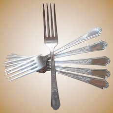 Ancestral 1924 Dinner Forks Set 6 Vintage Silver Plated