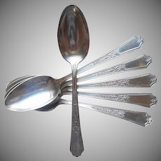 Ancestral 1924 Table Spoons Set 6 Vintage Silver Plated