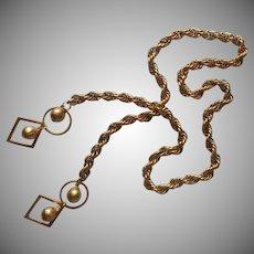 Vintage Lariat Necklace Gold Tone Rope Twist