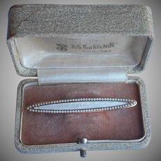 Antique Enamel Bar Pin White Guilloche Brass
