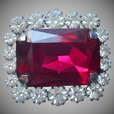 Hot Pink Glass Stone Vintage Pin Framed In Rhinestones