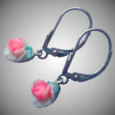 Miraculous Medal Blue Enamel Pink Celluloid Roses Sterling Silver Pierced Earrings