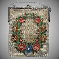 Antique Beaded Purse Glass Beads Garland Of Roses TLC