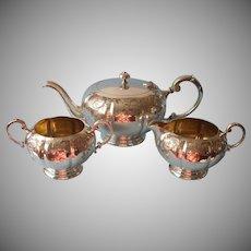 Tea Set Vintage Silver Plated Melon Rib Engraved Teapot Creamer Sugar